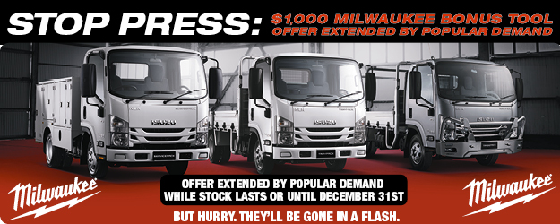 Brisbane Isuzu Ready To Work Truck $1,000 Milwaukee Tool Offer Extended